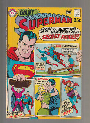 Superman # 222  Stories of my Secret Family !  grade 8.0 scarce book !