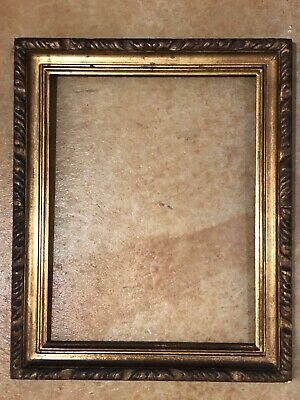 """ANTIQUE VTG~Ornate Gold Wood Holds 14"""" X 18"""" Picture Frame Wall Art"""