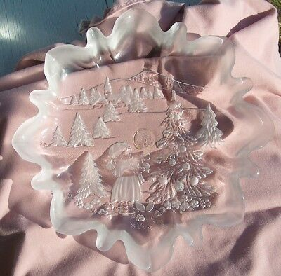 """Mikasa """"Christmas Story"""" Clear Frosted Glass Bon Bon Plate Candy Dish Ruffled"""