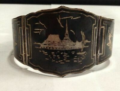 Antique Vintage Sterling Silver Siam Etched Black Enamel Etched Panel Bracelet