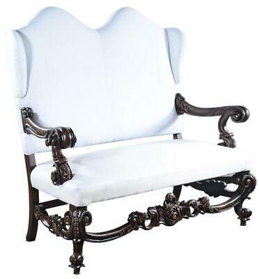 Throne Settee Baroque Rococo Winged Distressed Walnut Upholstery Solid Wo
