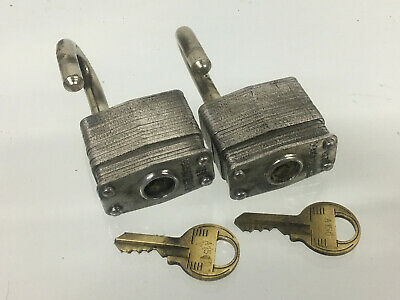 (2) Vintage No. 3  Master Lock Padlocks Keyed Alike With 2 Keys - Made In Usa