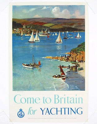COME TO BRITAIN FOR YACHTING, Original Travel Poster Great Britain, 1948