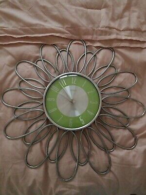 Verichron Large Metal Flower Design Battery Operated Wall Clock