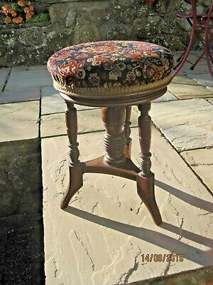 Victorian Style Adjustable Piano Stool, 18.5-20 Inch Height,