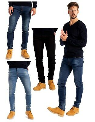 Mens Stretch Skinny Slim Fit Jeans Flex Denim Pants 3 Leg Length Waist 28-40