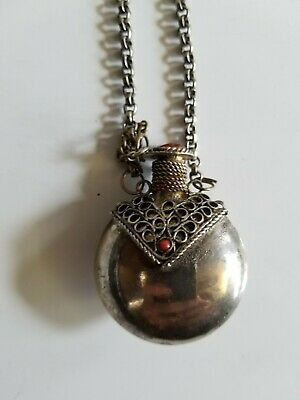 vintange silver perfume snuff-bottle with amber stone, chain necklace with diper