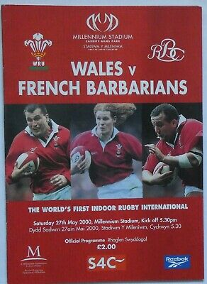 Wales French Barbarians  Rugby Union Programme 2000
