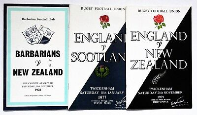 England Scotland New Zealand Barbarians  Rugby Union Programmes 1977 1978  1979