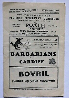 Barbarians Cardiff Rugby Union Programme 1949