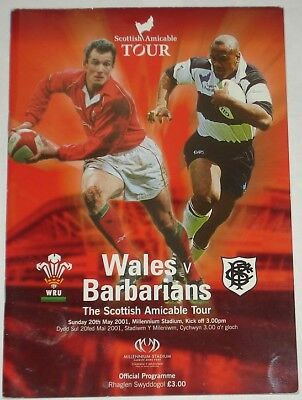 Wales  Barbarians Rugby Union Programme 2001