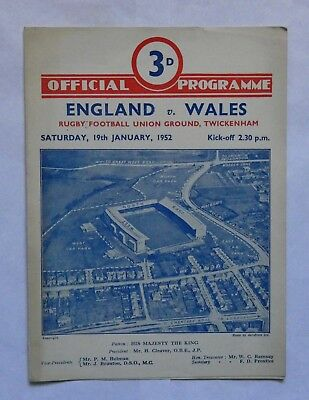 England Wales Rugby Union Programme 1952