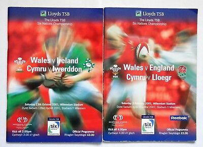 Wales England Ireland Rugby Union Programmes 2001