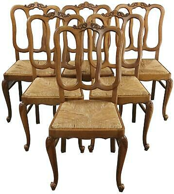 Dining Chairs Louis Xv Rococo Vintage 1950 French Oak Cane Rattan Set 6