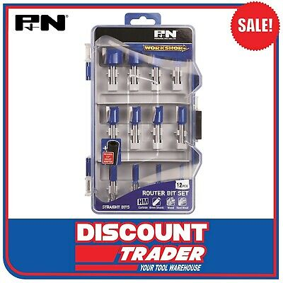 P & N by Sutton Tools WorkShop 12Pc Straight Carbide Router Bits Set - 149060002