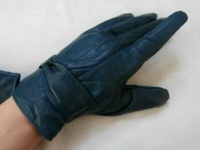 BN Vintage 1990's Soft Teal Leather Wrist Gloves with Cosy Lining Sz 7-7 1/2 M-L