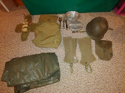 Vintage WW II Military Helmet,Gear,Poncho,Mess Kit,USMC Backpack,Spats,Shovel