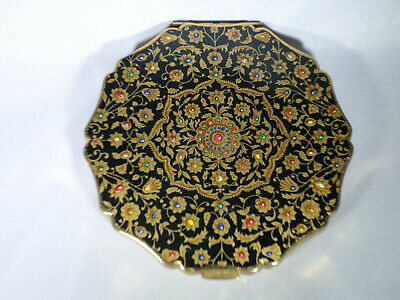 Vintage Stratton England Beautiful Persian Floral Design Powder Compact Case