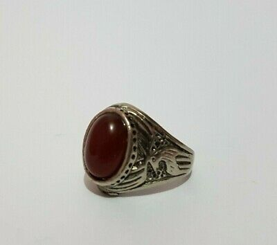 Rare Ancient Viking Metal Ring Stone Red, Ring Antique Authentic Very Stunning