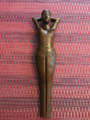 """Vintage Mid-century Hand Carved Wooden 13"""" Partially Nude Woman Nut Cracker"""