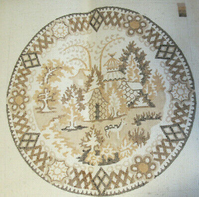 "Hand Painted Needlepoint Canvas 14"" dia Forest Scene Fine China Inspired Design"