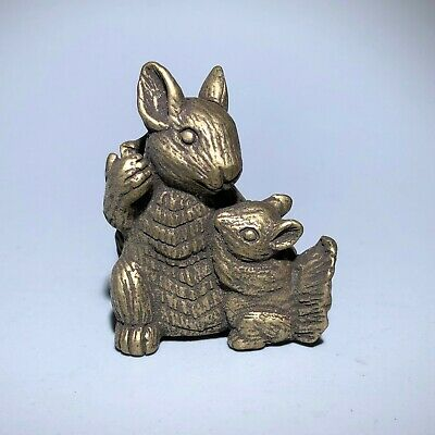 Collectible Chinese Old Antique Solid Brass Handwork Squirrels Ornament Statue