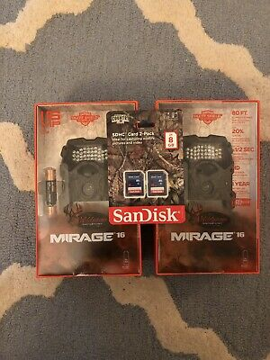 Wildgame Innovations Mirage 16 MP Game Camera Set of 2 Plus 2 SD Cards! New!