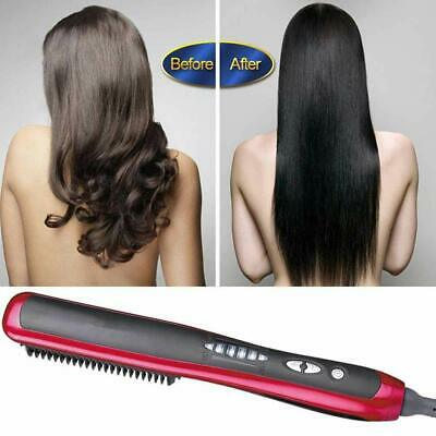 Men Hair Beard Curling Straightener Brush Comb Straightening Show Cap Quick Iron