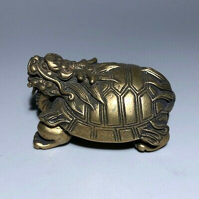 Antique Collectible Chinese Old Brass Handwork Golden Dragon Turtle Rare Statue