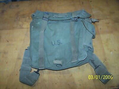Vintage World War II US Military Backpack Rucksack Haversack Canvas Bag