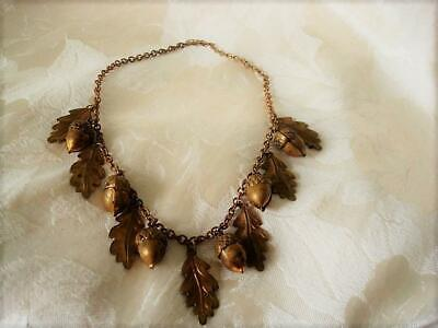 Vintage Brass Tone Necklace With Acorns and Oak Leaf Drops Dangles As Found
