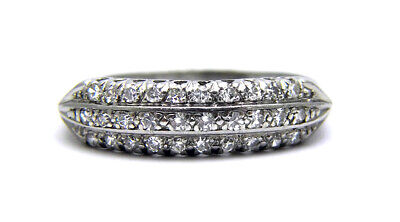 Antique Art Deco Old Mine Diamond Platinum Ring Wedding Engagement Cluster Band