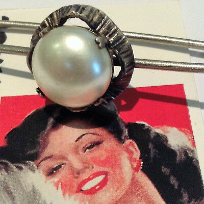 FRENCH 1950s VTG SAFETY KILT SCARF PIN BROOCH - SILVER PLATED & FAUX PEARL -MINT