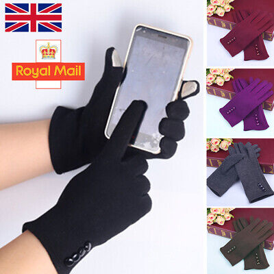 Fashion Women Ladies Button Fleece Thermal Lined Touch Screen Gloves Winter Warm