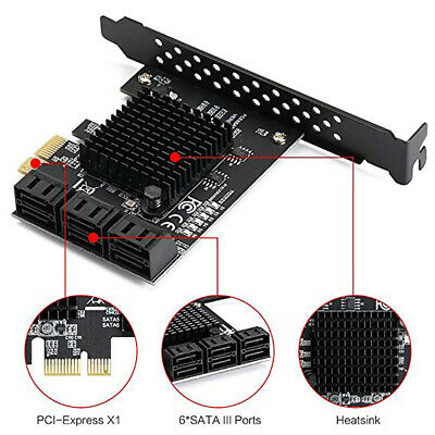 Expansion Card Adapter 6 Port PCI-E to SATA 3.0 HUB PCI Express 6 Gbps Speed
