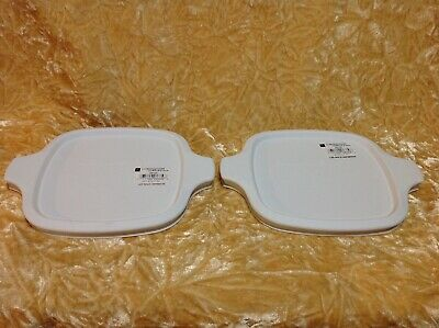 Corningware White Plastic Lid For Petite Pan Dish ~ P-41-B P-43-B ~ Lot Of 2