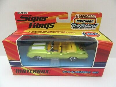 Matchbox Superkings K-204 1970 Oldsmobile 442 Convertible - Lime - Mint/Boxed