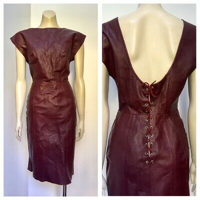 80's Vintage textured LEATHER lace up low back burgundy dress 10-12