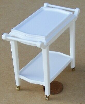 1:12 Scale White Painted Wooden 2 Tiered Trolley Tumdee Dolls House Accessory