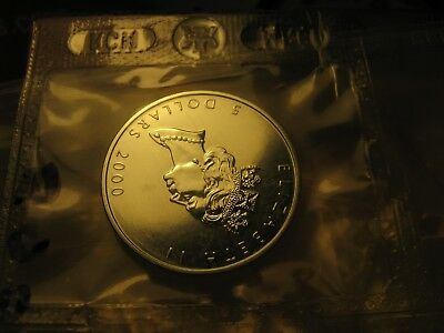 $5 2000 Silver Maple Leaf Bullion RCM Sealed Coin Fireworks Privy 1 Oz  Silver.