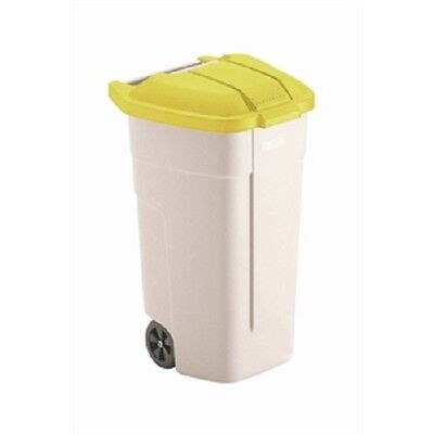 Rubbermaid Beige Wheelie Bin with Yellow Lid 100 litre Recycling F692 Catering