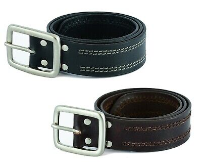 Mens Premium Quality Nickel Free Brass Buckle Real Leather Belt AUS Full Grain