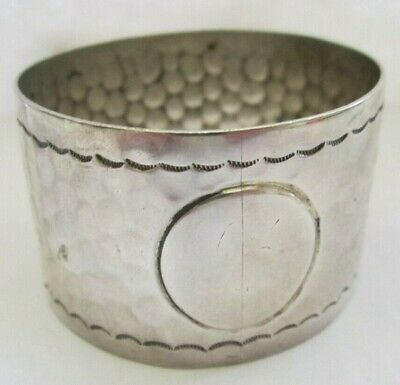 Antique Hammered Look Sterling Silver Napkin Ring Lot # 16 Of Collection See All