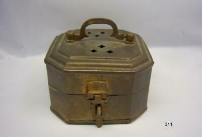 "Solid Brass Octagonal Hinged Trinket, Incense, Jewelry, Cricket Box - 2"" Tall"