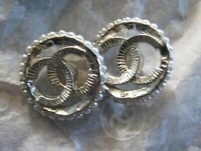 Chanel 2  Silver Metal Cc Logo Front  Pearl Buttons  14 Mm Small New Lot 2