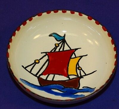 Vintage Greece Enamel On Copper Hand Made Bowl Pin Jewelry Dish Nautical Ship