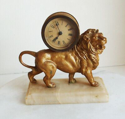 Vintage Regal Lion Standing Mantle Clock With Mechanical Clock Movement