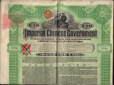 CHINA  Imperial Ch. Government 5% Hukuang Railway Gold Bond 1911 w. unc. coupons