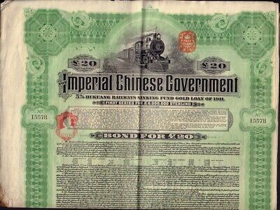 CHINA  Imperial Ch. Government 5% Hukuang Railway Gold Bond 1911 unc. coupons