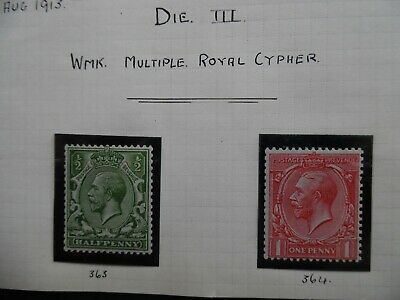 GB Stamps George V 1913 Multiple Royal Cypher Watermark (SG 397 and SG 398) PMM